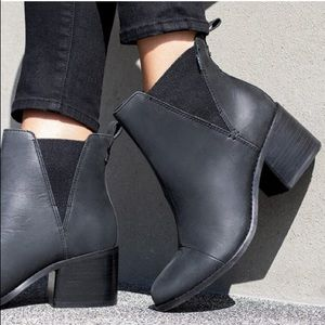 Block leather booties